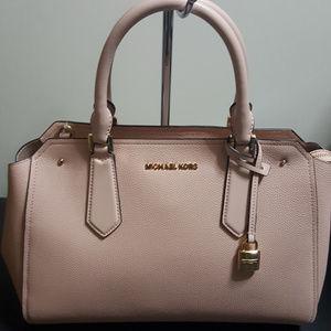 Michael Kors Large Hayes Leather Satchel Pink